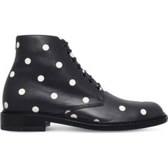 SAINT LAURENT Lolita polka dot leather boots ($915) ❤ liked on Polyvore featuring shoes, boots, leather footwear, self tying shoes, dot shoes, real leather shoes and stacked heel shoes