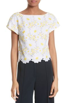 Milly - Sophia Lace Top in yellow and white | starting in size 0 | Lacy daisies usher in the season of sunny cheer, covering every surface of this fresh cap-sleeve top.