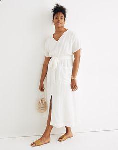 Linen-Blend Dolman-Sleeve Tie-Waist Midi Dress Silk Midi Dress, White Midi Dress, Boho Dress, White Linen Dresses, Petite Dresses, New Dress, Boho Fashion, Fall Outfits, Short Sleeve Dresses