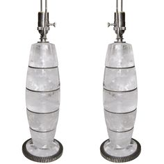 For Sale on - An impressive pair of Rock Crystal and hand hammered wrought iron table lamps by Sylvain Subervie. The wrough iron hand hammered Iron Table, Decoration, Crystal Lamps, Crystal Ring, Pairs, Rock, Crystals, Lighting, White Silk