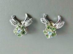 Vintage 70s green pink glass rhinestone clip on earrings . silver tone diamante