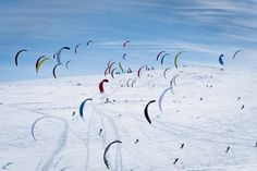 Haugastol, Norway Participants at the Red Bull Ragnarok snowkite race