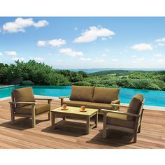 Casual and inviting, this 4-piece patio set is made from 100% high-quality teak wood that stands up to the elements. The brown color and fade-resistant Sunb