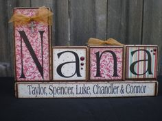 Wooden Home Decor Blocks  NANA by Memoriesoffaith on Etsy, $30.00