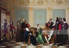 Leonardo da Vinci receiving the commission for the Last Supper at Ludovico il Moro's court in Milan, by Giuseppe Diotti Age of Sforza, Italy, century. History Images, Art History, Milan, Last Supper, Cool Posters, Ways Of Seeing, Cartography, Gradient Color, Find Art