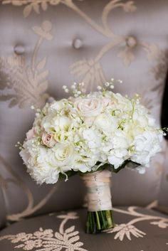 White bridal bouquet by The Garden Gate. Photo by John Christopher Photographs. #wedding #bouquet #white