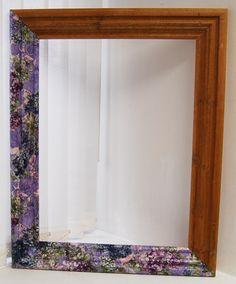 Decopatch pine mirror decoration, revamp, makeover.