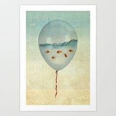 balloon fish Art Print by Vin Zzep - $19.90