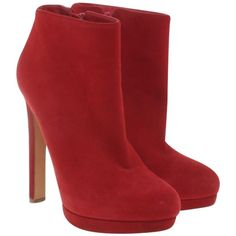 Pre-owned Ankle boots in red ($350) ❤ liked on Polyvore featuring shoes, boots, ankle booties, heels, booties, red, red ankle boots, red heel booties, stiletto booties and stiletto ankle boots