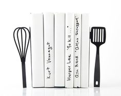 Metal Kitchen Bookends // Spatula and whisk // functional modern kitchen decor // housewarming present // FREE WORLDWIDE SHIPPING //