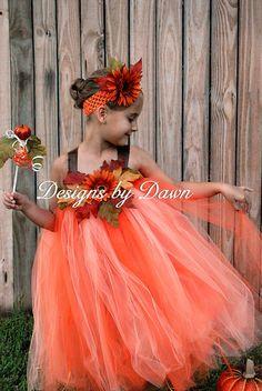 Custom Made Beautiful Fall Fairy Dress Pumpkin by mytutuboutique