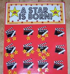 "Cute birthday bulletin board idea. The classroom was themed ""hollywood"", but the"