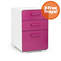 White + Pink Stow 3-Drawer File Cabinet, Fully Loaded