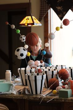 Preparing our sports themed centerpieces … Sports Themed Centerpieces, School Centerpieces, Centerpiece Ideas, Sports Party, Sports Birthday, Yellow Summer Squash, Fun Snacks For Kids, Party Themes, Party Ideas