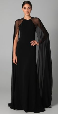 Reem Acra Halter Gown with Chiffon Cape in Black
