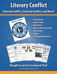 Get your students engaged with literary conflict by using storyboards to teach them the important aspects of internal and external conflicts. Literary Conflict PowerPoint Presentation ♦ Character vs. Self ♦ Character vs. Character ♦ Character vs. Society/World ♦ Character vs. Nature ♦ Character vs. Technology/Machine