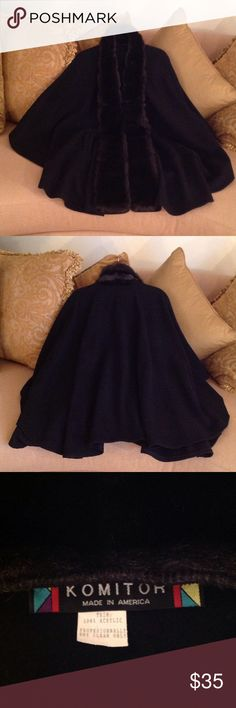 🍃🌹 'Komitor - 'SALE' Faux Fur Black Cape 🍃 Beautiful, stylish Black Cape by Komitor.  Made in America. One size fits most.  100% Acrylic. The Faux Fur looks really good, almost like the real thing!!  It has a one eye and hook closure and it has pockets!!  It's in like new condition too!!  This is truly a gorgeous Winter piece for Church, the Theatre, Dinner or anytime that your attire calls for 'dressy' 🍃🌺 komitor Jackets & Coats Capes