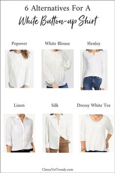 6 Alternatives To A White Button-up Shirt - A white button-up shirt is a flexible top to have in a capsule wardrobe. The simple design and crisp white color looks great with almost anything. Plus, they are perfect layering shirts to wear under sweaters, cardigans, jackets and blazers. You can wear it in a suit, wear it with a skirt, cardigan and pumps…