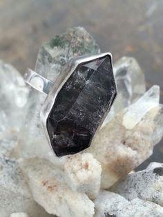 Black Tibetan Raw Quartz Crystal and Sterling Silver by StarNative