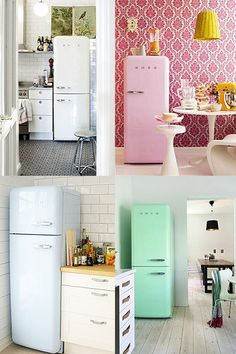 Smeg fridge! new favorite dream appliance! Also come in orange, green... or you can do a custom color or PATTERN! Boggles the mind