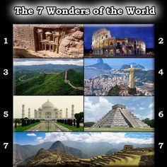 New 7 Wonders of the World    1) Petra  2 ) Colloseum  3) Great Wall of China  4) Christ the redeemer  5) Taj Mahal   6) Chichen Itza  7) Machu Picchu    #history #historyfacts #interesting #ancient #historicalfacts #chichenitza #tajmahal #machupicchu #worldwonders #wonders #christredeemer #petra #colloseum #greatwallofchina    Reposted from @ancient_history_facts