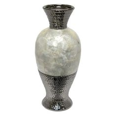 Shop for Well-Designed Ceramic Pearl Rotund Vase, Silver And White. Get free delivery On EVERYTHING* Overstock - Your Online Home Decor Outlet Store! Tall Floor Vases, Artificial Floral Arrangements, Gas Fire Pit Table, Living Room Redo, Foyer Design, Ceiling Fan With Remote, Bottle Vase, White Vases, Farmhouse Design