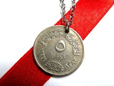 Coin Necklace, Syria 1967, 5 Piastres, Syrian, United Arab Republic, Egypt Pendant Jewelry by Hendywood - Hendywood