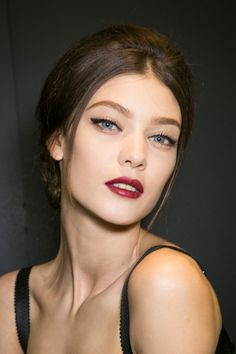 recreate this vampy lips using Gorgeous Cosmetics lipstick in signature shade: Gorgeous Red!