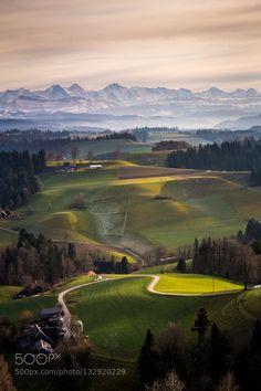 Lueg Emmental Switzerland - Pinned by Mak Khalaf Landscapes AlpenEmmentalGreenHillsLuegNatureSwitzerland by MartinIngold