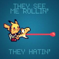 Yellow Yoshi, Pikachu - They see me rollin, they hatin' Pika Pokemon, Pikachu, Super Smash Bros, Super Mario Bros, Yoshi, They See Me Rollin, Fraggle Rock, Fun Crafts To Do, Original Pokemon