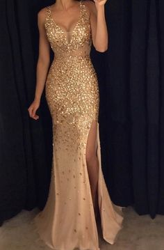 Front Split Gold Prom Dresses With Straps,Sexy V-neck Prom Gonws,Long Prom Dress For Teens,Sparkly Modest Evening Dresses,Party Dresses