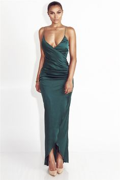 - Available in Green and Red - Ankle-Length - Sleeveless - Polyester - Solid - Satin