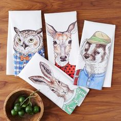 Dapper Animals Tea Towel Set   West Elm