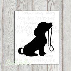 Dog printable Puppy print Dog walking Dog lovers by DorindaArt, $5.00