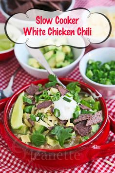 Slow Cooker White Chicken Chili with Green Chilies Recipe ~ http://jeanetteshealthyliving.com