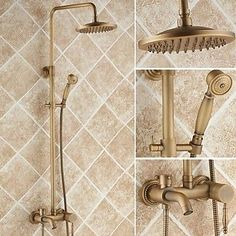 Antique Brass Tub Shower Faucet with 8 inch Shower Head + Hand Shower Save up to Off at Light in the Box with Coupon and Promo Codes. Bathroom Shower Faucets, Bath Shower Mixer Taps, Gold Bathroom, Bathroom Fixtures, Bathroom Showers, Master Bathroom, Bronze Shower Head, Gold Faucet, Douche Design