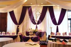 This #reception #banquet #decoration #package includes a #multiple-tier head tables, #cake table, #backdrop and one #signing table outside. Whole wedding using #purple as the #theme colour which looks really #elegant and #romantic combined with #white as the #background colour.