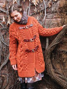 Knitted toggle coat - knitting pattern