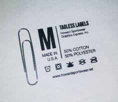 Custom Tagless Labels | Howard Multi-Purpose Heat Transfers #taglesslabels