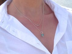 Layered Sea Glass Necklace Double Sea Glass Necklace Sea