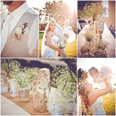Country Rustic Wedding. Burlap boutonniere, mason jars filled with baby's breath