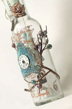 decorated wine bottle by Ingvild Bolme