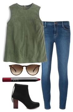 """green suede top"" by helenhudson1 ❤ liked on Polyvore featuring J Brand, J.Crew, NARS Cosmetics and Ray-Ban"
