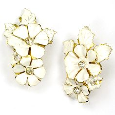Sandor Gold and White Enamel Flowers Clip Earrings