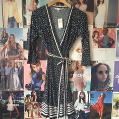 Max Studio Wrap Dress Made from comfortable jersey knit, this dotted wrap dress is flattering to every figure and appropriate for work or a wedding with heels OR a weekend getaway with trendy sneakers. 3/4 sleeves. NWT. Max Studio Dresses Midi