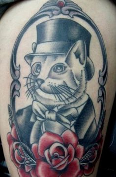 i would do this for sunny lol maybe have the cat be orange and the roses black and white