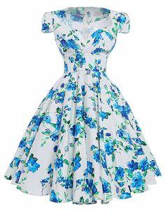 Women Dresses Summer Robe Sexy Vestidos Plus Size Floral Print Retro Vintage Dress Hepburn Pinup Cocktail Party Dresses