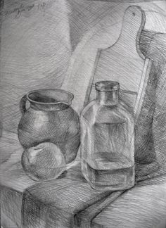The artist conveys depth and realism by using different forms of cross-hatching and shading. Still Life Sketch, Still Life Drawing, Still Life Art, Pencil Drawings Of Girls, Art Drawings Sketches Simple, Hatch Drawing, Drawing Apple, Deviantart Drawings, Stippling Art