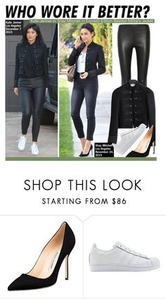 """""""Who Wore It Better?Kylie Jenner or Shay Mitchell in Express Edition Beaded Military Jacket"""" by kusja ❤ liked on Polyvore featuring Balenciaga, Kendall + Kylie, Manolo Blahnik, adidas Originals, WhoWoreItBetter, shaymitchell, KylieJenner and wwib"""