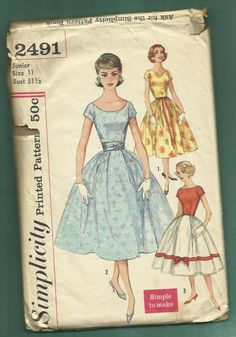 1958 McCalls 2491 Party Dress with Fitted Bodice by MrsWooster, $15.00
